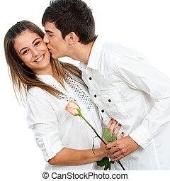 Garçon, Romantique, Donner,  rose,  girl, baiser