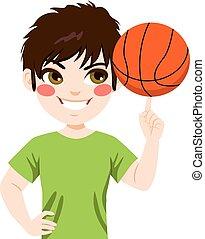 garçon, rotation, basket-ball