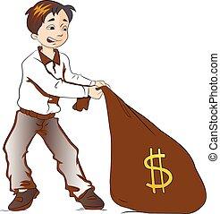 garçon, sac, traction, argent, illustration