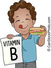 garçon, sandwich, vitamine, illustration, gosse