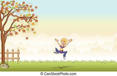 garçon, sauter, dessin animé, adolescent