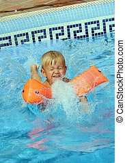 garçon, sauter, piscine