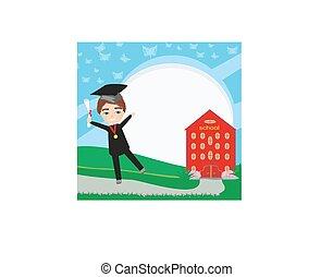 garçon, -, school-college, remise de diplomes