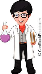 garçon, scientifique, tube, tenue, dessin animé, essai