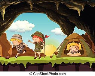 garçon, scoute, camping