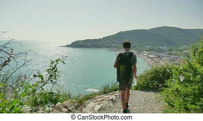 garçon, sea., touriste, assoiffé, montagnes, voyages, eau,...