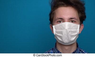 garçon, sentiment, masque, malade, porter