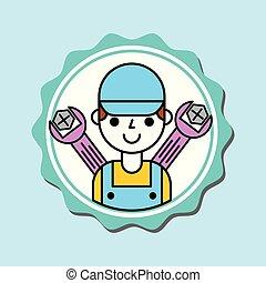 garçon, service, mécanicien voiture, salopette, outils