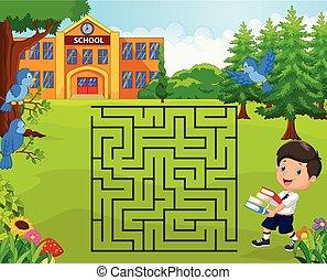 garçon, sien, aide, école, jeu, labyrinthe, trouver