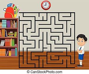 garçon, sien, aide, jeu, sac à dos, labyrinthe, trouver