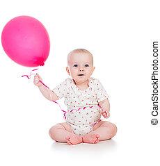 garçon, sien, ballon, isolé, main, bébé, sourire, blanc rouge