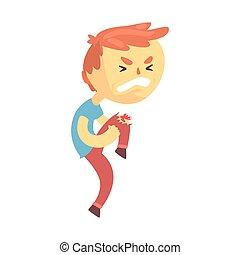 garçon, sien, blessure, caractère, illustration, vecteur, genou, dessin animé