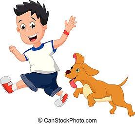 garçon, sien, chouchou, chien, illustration, courant