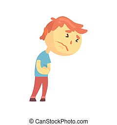 garçon, sien, douleur abdominale, caractère, abdomen, malheureux, urgent, souffrance, vecteur, illustration, mains, dessin animé, gosse