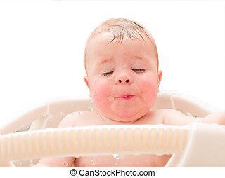 garçon, sien, eau bain, bébé, apprécier, heureux