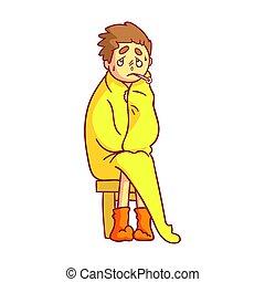 garçon, sien, grippe, coloré, séance, attrapé, caractère, jaune, avoir, élevé, couverture, tenue, thermomètre, couvert, mouth., dessin animé, température