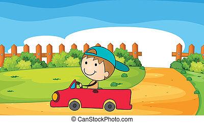 garçon, sien, jeune, voiture