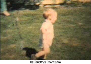 garçon, sien, jeux, grand-maman, 1963