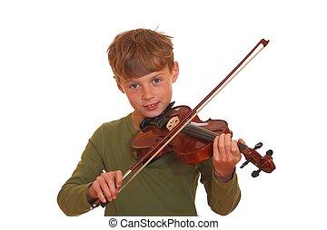 garçon, sien, jeux, jeune, violon, heureux