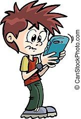 garçon, sien, mobile, figure, téléphone, reçoit, message, surpris