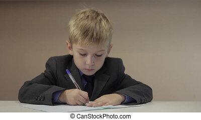 garçon, sien, sérieux, cahier, écriture