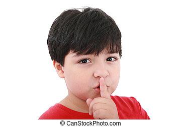 garçon, sien, sur, -, jeune, top secret, bouche, doigt, shh.