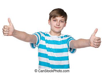 garçon, sien, tient, haut, adolescent, pouces