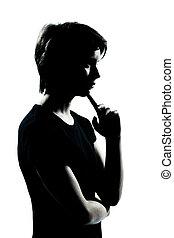 garçon, silhouette, pensée, jeune, une, adolescent, girl, ou