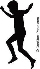 garçon, silhouette, vecteur, sauter