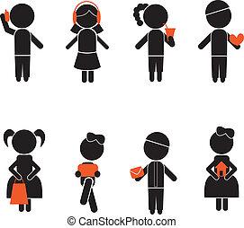 garçon, silhouettes, girl, crosse