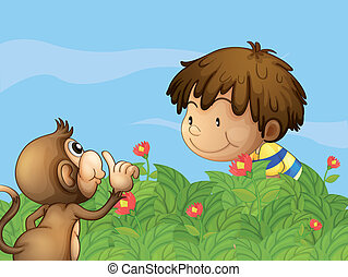 garçon, singe, jardin, conversation