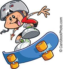 garçon, skateboard, casque