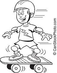 garçon, skateboard