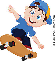 garçon, skateboard, dessin animé, heureux