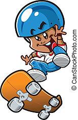 garçon, skateboard, ethnique