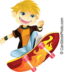garçon, skateboarding