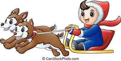 garçon, sleigh chien, équitation, tiré, dessin animé