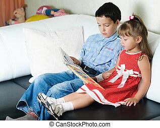 garçon, soeur, sien, livre, lecture