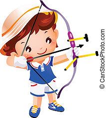 garçon, sommet, jouet, flèche, arc
