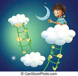garçon, sommet, nuage, heureux