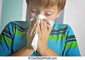 garçon, souffler, malade, grippe, nez, maison