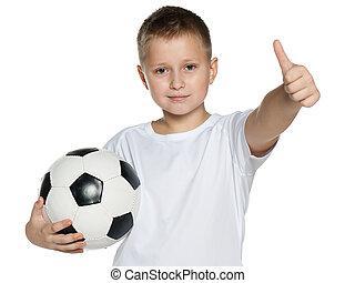 garçon, sourire, boule football