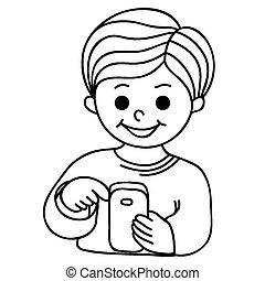 garçon, sourire, texting, cellulaire, p