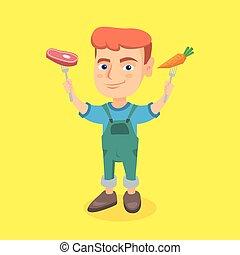 garçon, steak., carotte, tenue, frais, caucasien