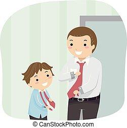 garçon, stickman, cou, père, illustration, cravate, gosse