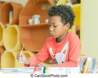 garçon, style, pictures., a porté, crayons, couleur, vendange, faire, effet, bibliothèque, dessin, jardin enfants, concept, américain, maison, education, classe, préscolaire, gosse