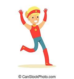 garçon, superhero, avoir, habillé, caractère, déguisement, feindre, étoile, sourire, bandeau, super, pouvoirs, rouges