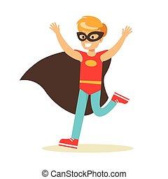 garçon, superhero, avoir, habillé, masque, caractère, noir, déguisement, feindre, cap, sourire, super, pouvoirs, rouges