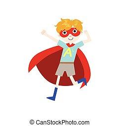 garçon, superhero, déguisement, cap rouge