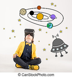 garçon, sur, rêver, voyager, espace